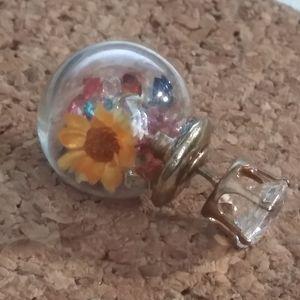 Cute Flower Double Side Round Earrings